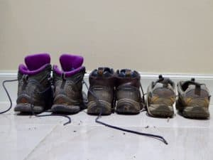 June in Moray with 3 pairs of walking boots