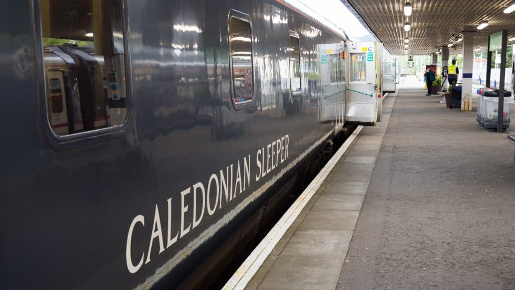 Caledonian Sleeper Train at the station