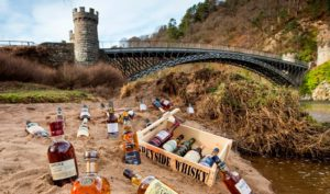 Whisky bottles by the River Spey