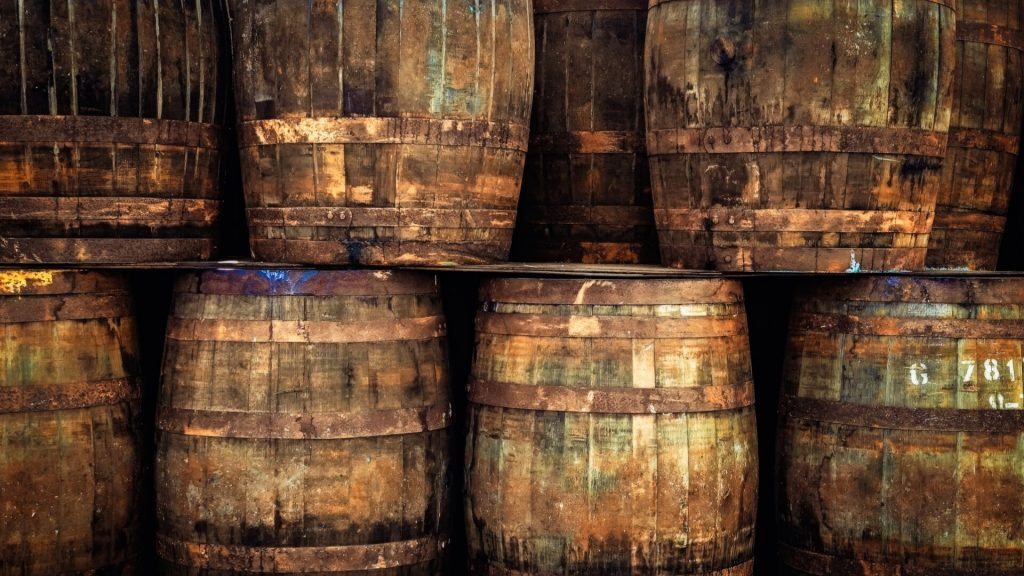 Whisky barrels at Speyside Cooperage