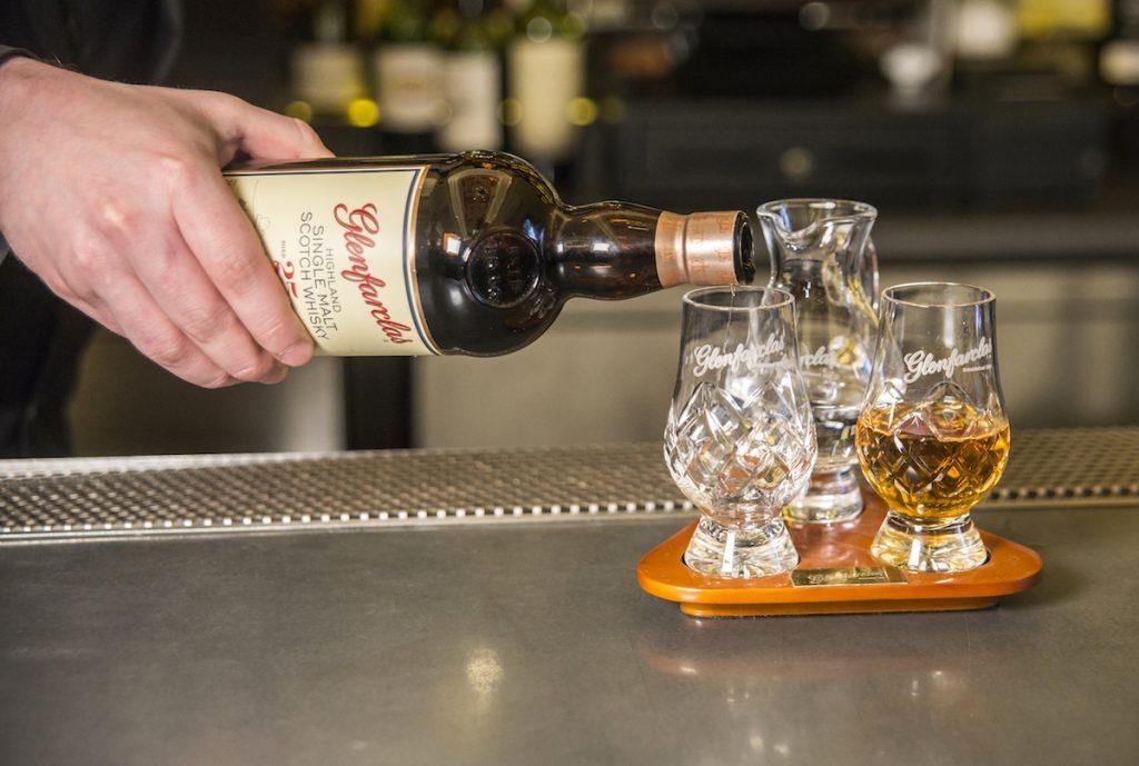 Pouring Glenfarclas Whisky