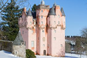Shows Craigievar Castle in February in Scotland