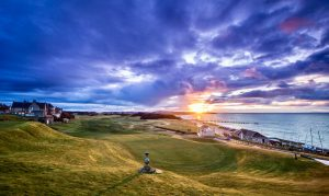Shows 18th from the Clubhouse at Moray Golf Club - part of Blervie House Golf Packages