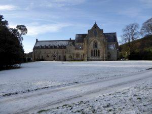 Pluscarden Abbey in the snow