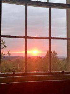 Scottish Sunset through a window